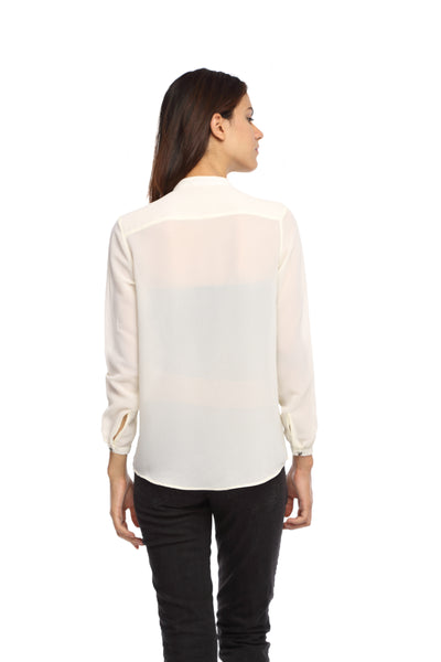 White Double Collar Full Sleeve Button Down Top Back