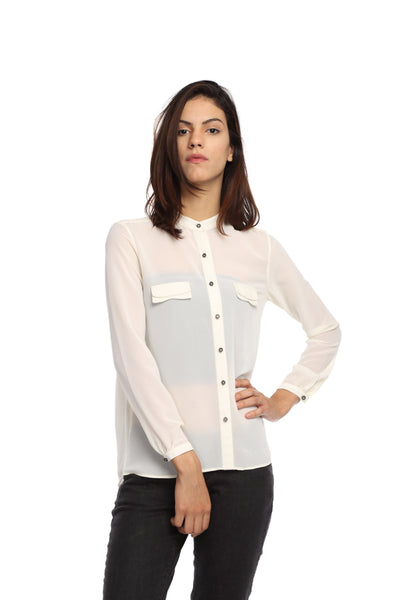 White Double Collar Full Sleeve Button Down Top Front