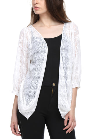 White Lace Shrug Front