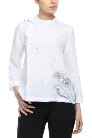 White Linen Shirt With Dandelion Embroidery Top Front