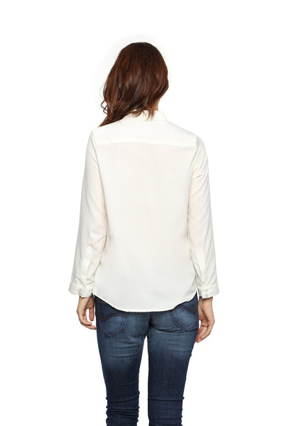 White Full Sleeve Button Down Top Back