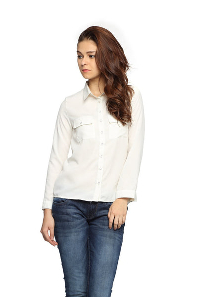 White Full Sleeve Button Down Top Front