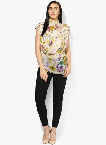Yellow Floral Print Reverse Cowl Top Front