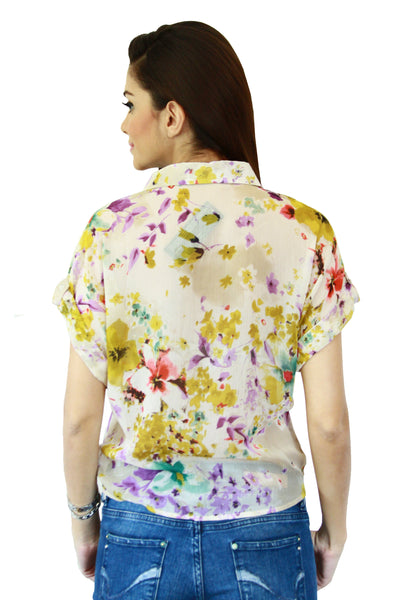 Yellow Floral Print Tie Up Top Back