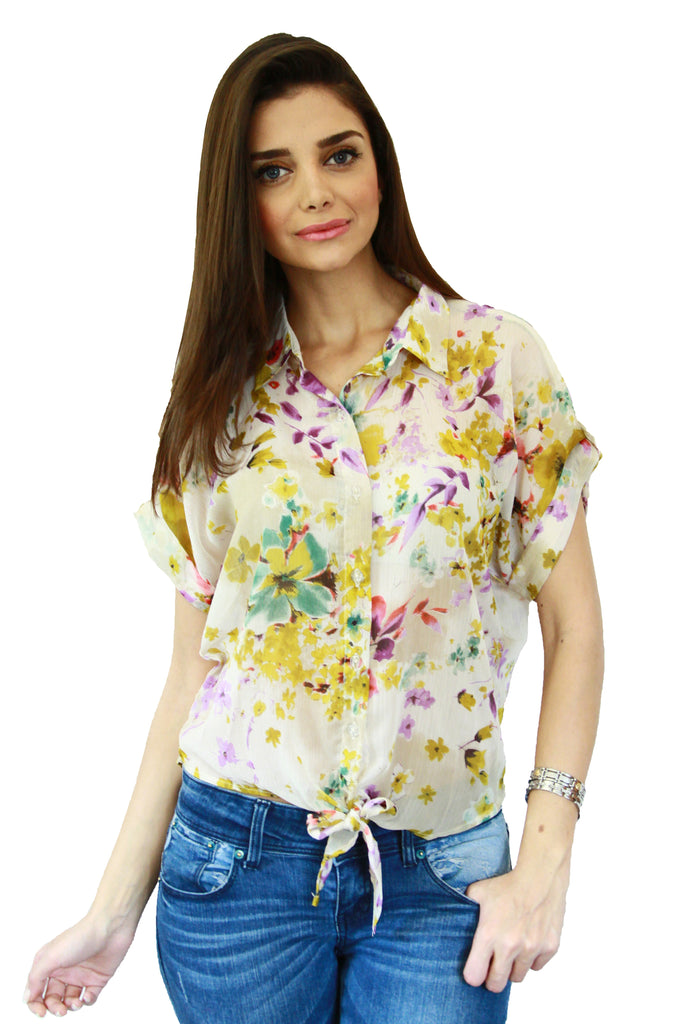 Yellow Floral Print Tie Up Top Front