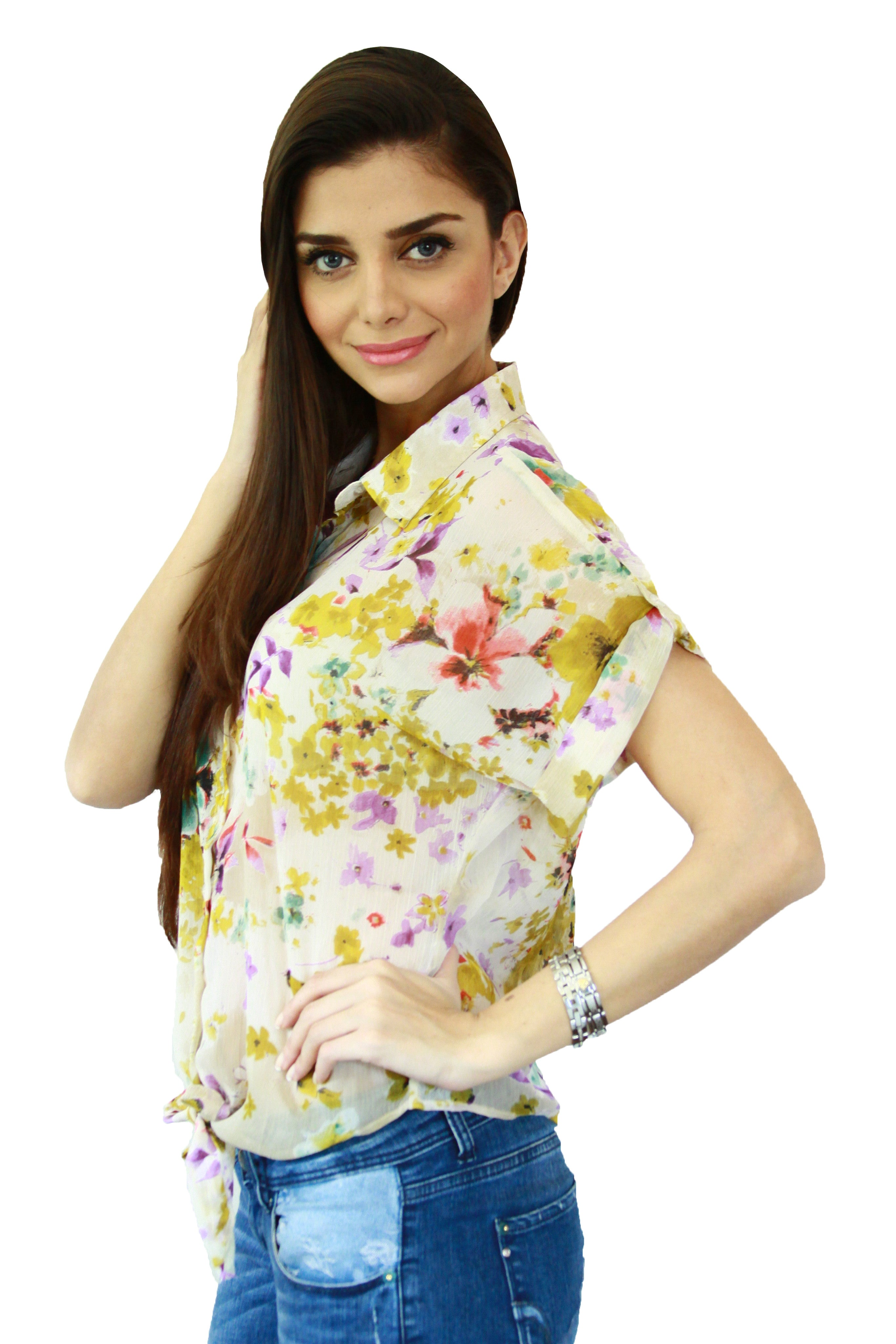 Yellow Floral Print Tie Up Top Side