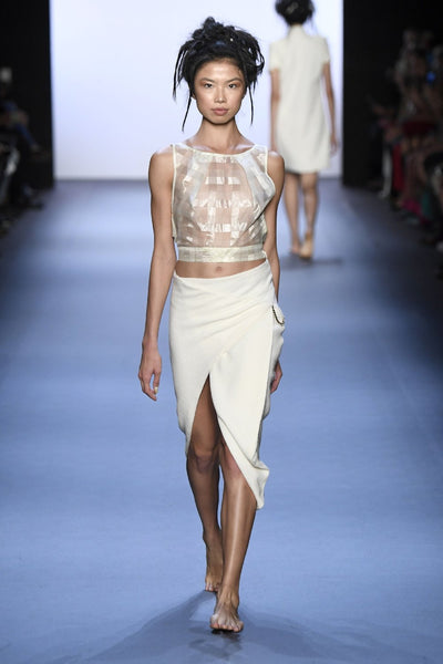 Crop Top in Italian Tissue & Origami Folded Skirt with Gold Chain Link Front