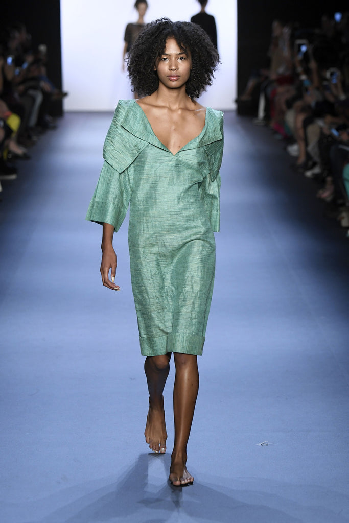 Fitted Dress With Pleated Kimono Sleeves Front