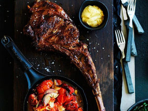 Tomahawk Steak And Roast Tomatoes With Rosemary | US Certified (USDA) Premium Black Angus Tomahawk Steak