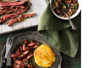 FLANK STEAK WITH SMASHED POTATOES AND SALSA | Angus Beef