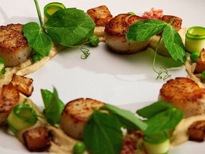 Caramalised Scallops and a Caramalised Shallot Puree with Spring Greens | US Scallops