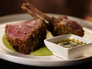Lamb Rack With Pea & Mint Purée and Asian Salsa Verde | Lamb Rack | Meat Delivery | Butcher