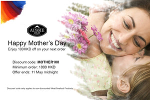 Happy Mother's Day: 100 HKD off for purchase over 1000 HKD
