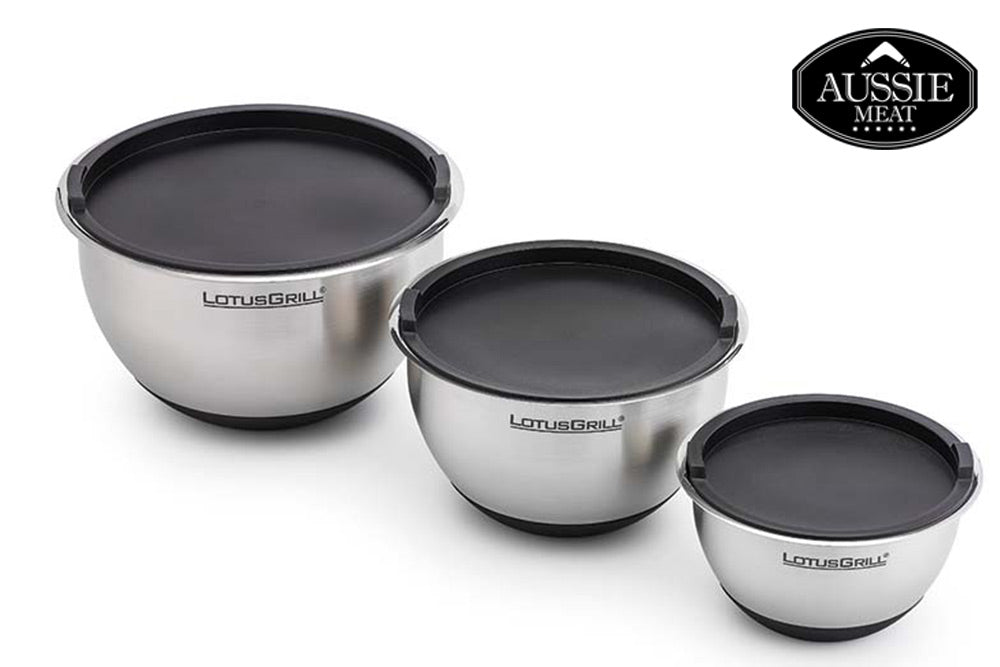 Aussie Meat BBQ Grill | Lotus Grill Stainless Steel Bowls (Set of 3) | NEW | 10% OFF