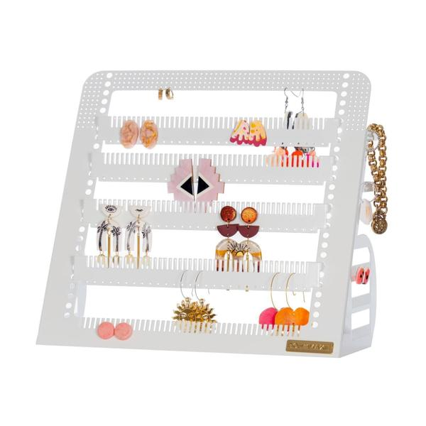 Adjustable Earring Holder & Accessory Stand - White MID