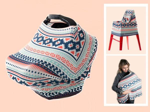 CAR SEAT CANOPY - Aztec Carseat Cover, Nursing Cover, Shopping Cart Cover & Scarf - Stretchy Infant Carrier Cover - Baby Tent