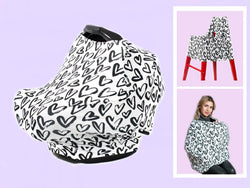 5 in 1 Carseat Cover - Nursing Cover - High Chair Cover - Shopping Cart Cover - Ultra Soft and Stretchy - Unisex (Hearts Print)