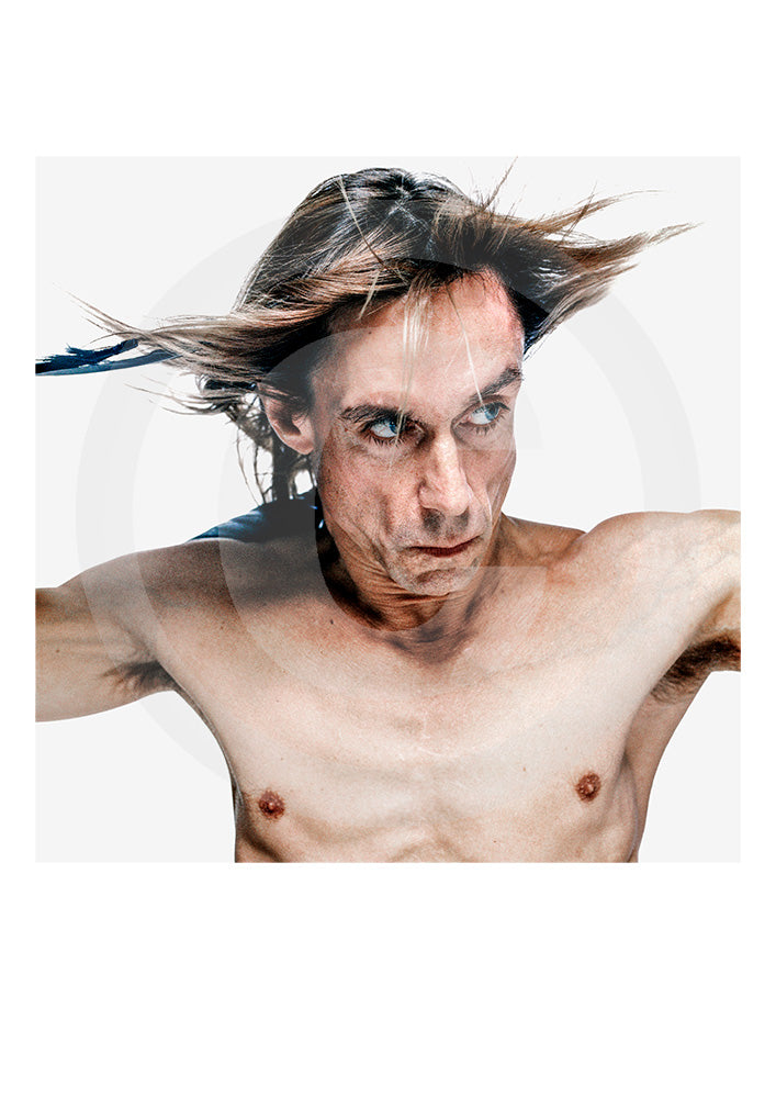 Signed Limited Edition print of 'The Godfather of Punk' Iggy Pop by portrait photographer Gavin Evans. Photograph taken from Evans' 'biopic- Iggy Pop' publication. Shot 1998, New York.