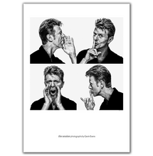 Fine art lithograph of music legend David Bowie. Portrait by Berlin British photographer Gavin Evans.
