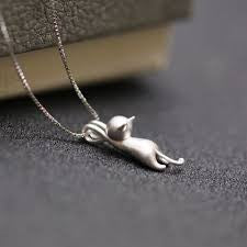 Cat Pendant Sterling Silver Necklace