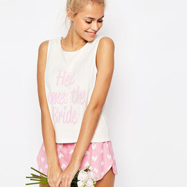 ASOS BRIDAL Here Comes The Bride Vest & Short Pyjama Set