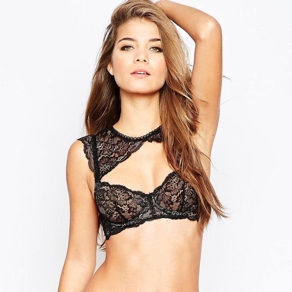 Shoulder Detail Lace Underwire Bralet