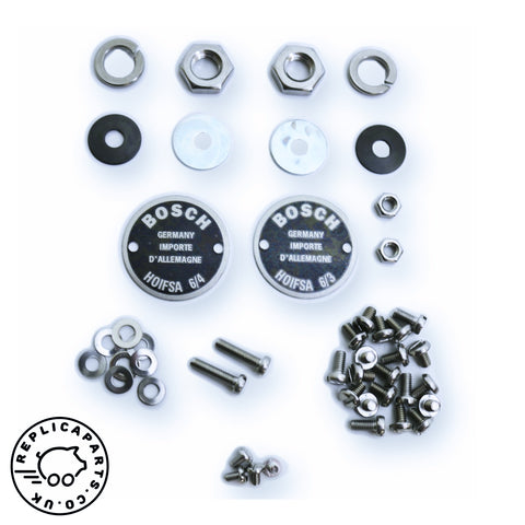 Porsche 356 Bosch horn restoration kit 2-hole data plates Replaces 64463500100 64463500300 ReplicaParts.co.uk