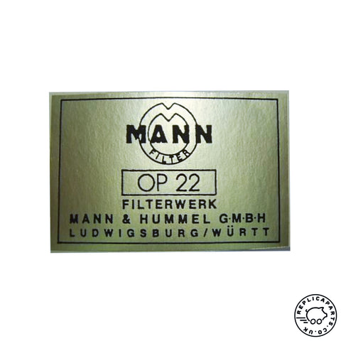 Porsche 356 early Mann oil filter canister decal 64470101113 ReplicaParts.co.uk