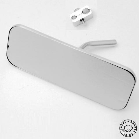 Porsche Speedster interior mirror 140mm chrome 64473100400 with clip 64473100600 ReplicaParts.co.uk