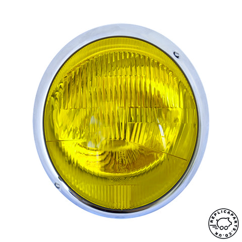Porsche 911 912 ('65-'67) Headlight assembly Euro LHD Yellow 90163110101 ReplicaParts.co.uk