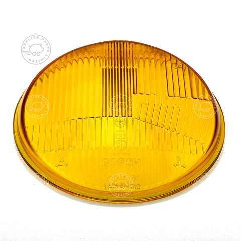 Porsche 356 late, early 911 912 Yellow Bosch headlight lens Replaces 90163111101