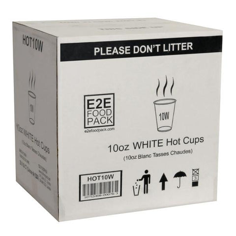 E2E - 10oz White Cups (sleeve of 1000)