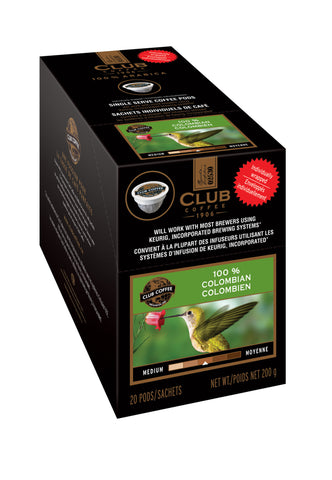 Club Coffee - 100% Colombian  (20 pack) - Coffee - Pod - Recycling