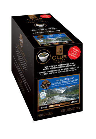 Club Coffee - SWP Decaf  (20 pack) - Coffee - Pod - Recycling