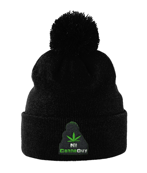 Embroidered NI CannaGuy Pom Beanie - 420UK