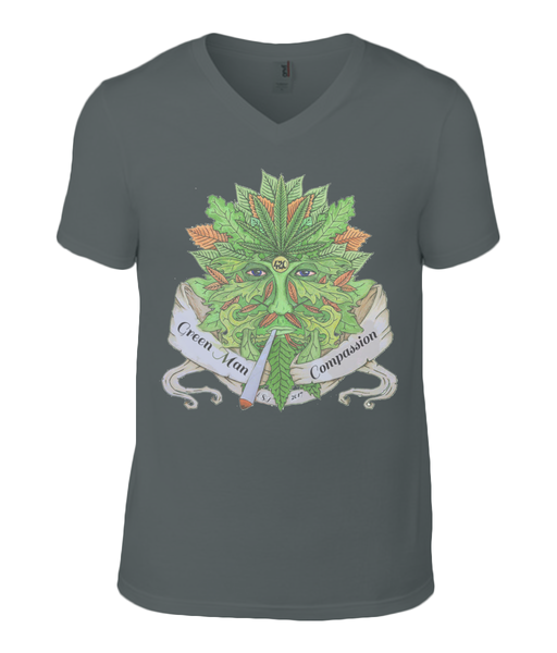 Green man Compassion V Neck T-Shirt - 420UK