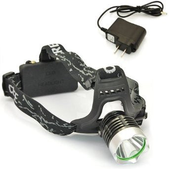 WindFire Outdoor Super Bright CREE XM-L T6 U2 LED Headlamp Rechargeable Headlight with AC Charger & 2 x 18650 Rechargeable Batteries