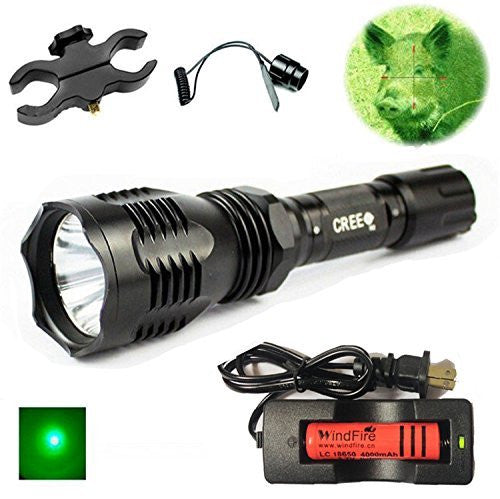 WindFire WF-802 Waterproof 350 Lumens Tactical Flashlight 250 Yards Long Range Throwing Green Cree LED Coyote Hog Hunting Light Torch with Remote Pressure Switch + Scope Mount + 18650 Rechargeable battery and Charger