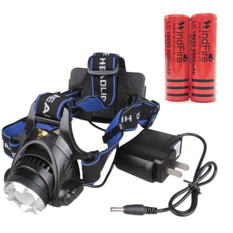 WindFire 1800 Lumens CREE XM-L T6 LED 3 ModesZoomable Head LED Torch Flashlight with Charger and 2 x 18650 Rechargeable Batteries for Outdoor Hiking, Riding, Camping