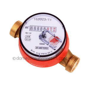 "GSD8 Single-Jet 15mm or 1/2"" HOT Water Meter"