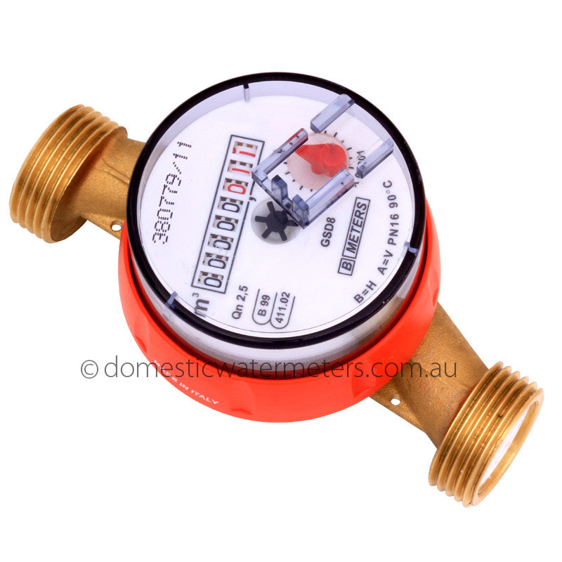 "GSD8 Single-Jet 20mm or 3/4"" HOT Water Meter"