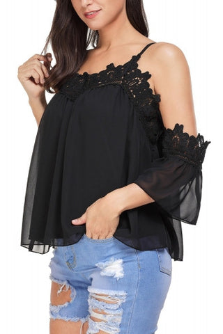 Cold Shoulder Embroidered Accent Draped Top