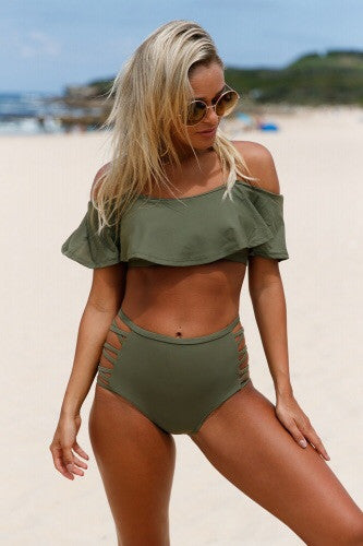 Ruffle Off Shoulder / High Waist Bikini