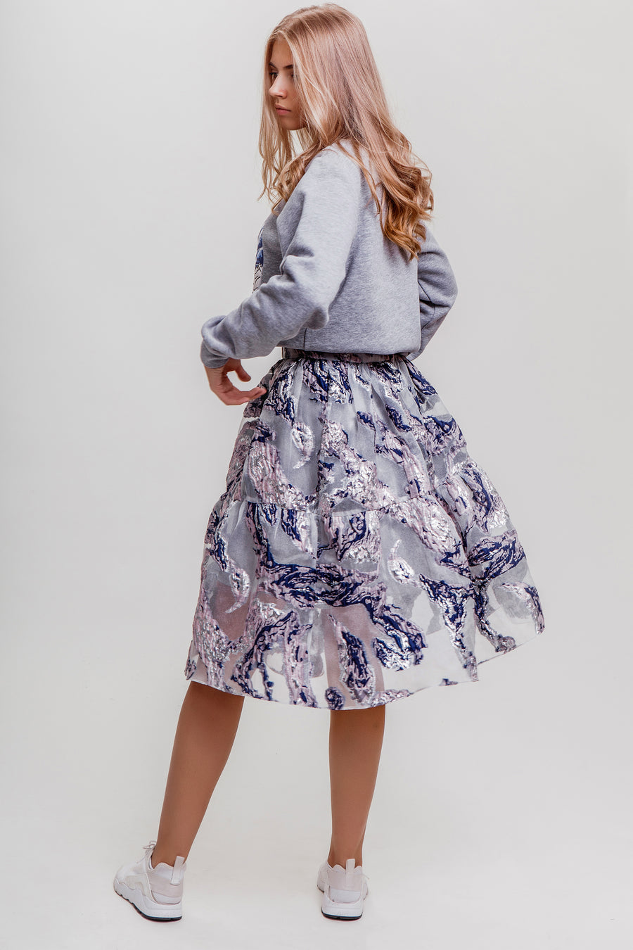 Plain Organza Flounced Skirt