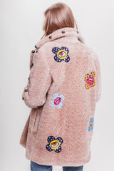 Flowers Sequins Eco Fur Cropped Coat