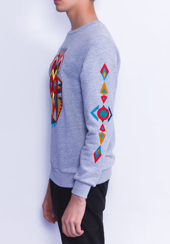 Owl Mask Embroidered Sleeves Sweatshirt