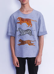 Multi Animals Short Sleeves Sweatshirt