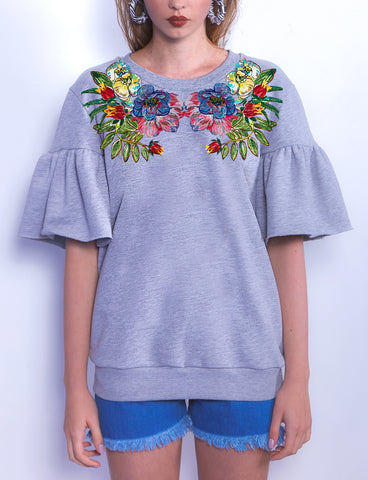 Orchid Decor Short Sleeves Sweatshirt