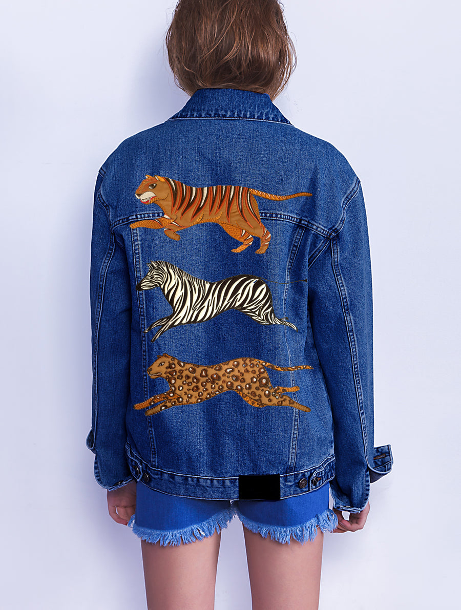 Multi Animals Denim Jacket