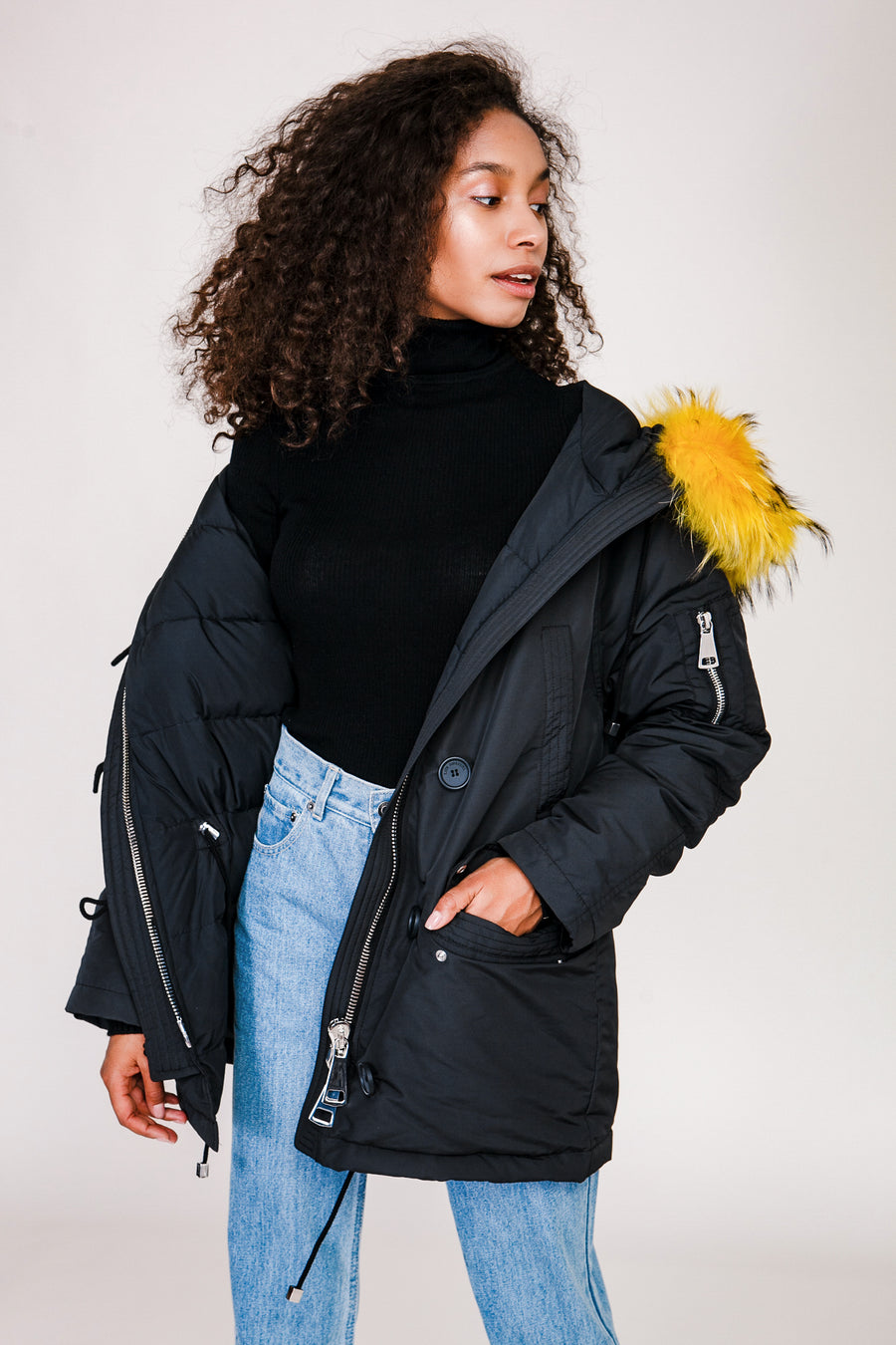 Down Jacket with Fur Collar